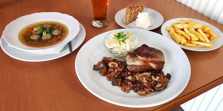 3chodové menu s 300g steakem z vepřové krkovice pro 1 i 2 osoby