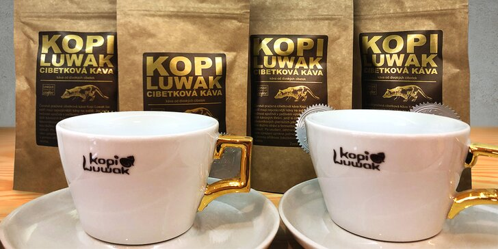 Cibetková káva pro 1 i 2 osoby s sebou a 10% sleva na nákup v obchodě