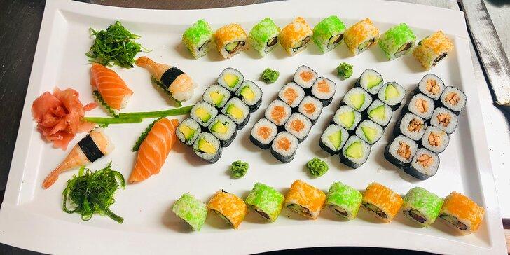 Pochutnejte si na sushi setech: 24–52 ks s lososem, krabem i čistě vegetariánské