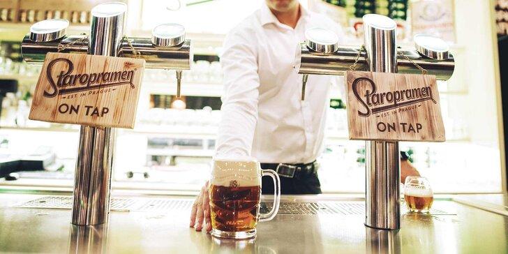 Pivní degustace i škola čepování pro 2 os. v pivovaru Staropramen nebo prohlídka pro jednoho