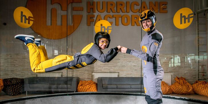 Postavte se hurikánu: let ve větrném tunelu Hurricane Factory pro 1 i 2 osoby