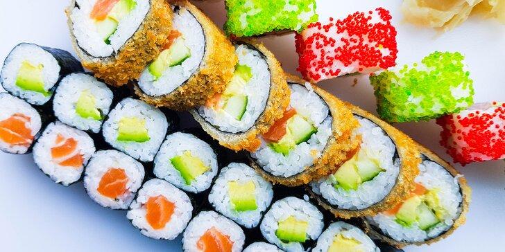 Set 32 kousků sushi na Porubě: losos na tři způsoby, kreveta, tuňák i avokádo