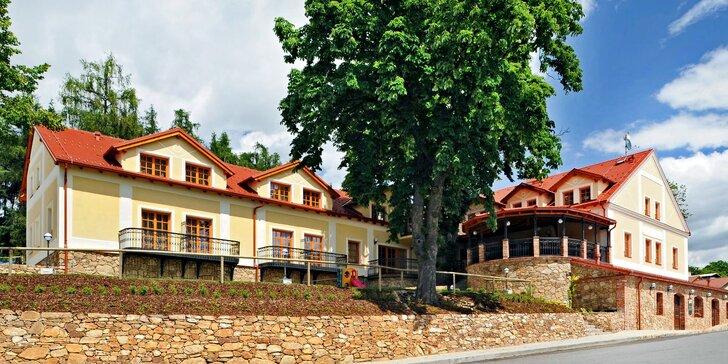 Romantika na jihu Čech: pobyt s polopenzí i wellness v oceňovaném hotelu