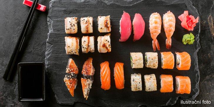Sushi v podzámčí: 24 nebo 38 rolek s lososem, mořským vlkem i krabem