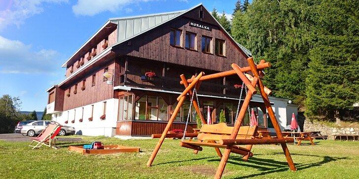 Pobyt v rodinném penzionu ve Špindlu s polopenzí a saunou
