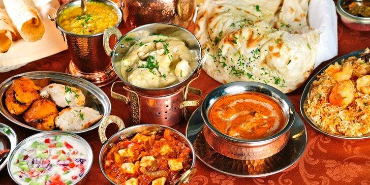 Voucher na jakékoli jídlo z indické restaurace v hodnotě 700 Kč: maso, zelenina i sýry