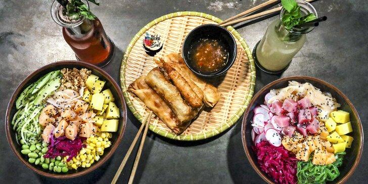 Havajský hit: poké bowl menu s lososem i krevetami, 2 předkrmy a pití pro 1 či 2 os.