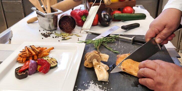 3hod. kurz vaření v restauraci hotelu Le Palais: připravíte paštiku, polévku i jelení hřbet