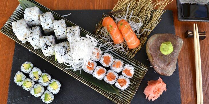Až 44 kousků lahodného sushi v Sushi Duha: losos, avokádo i tuňák