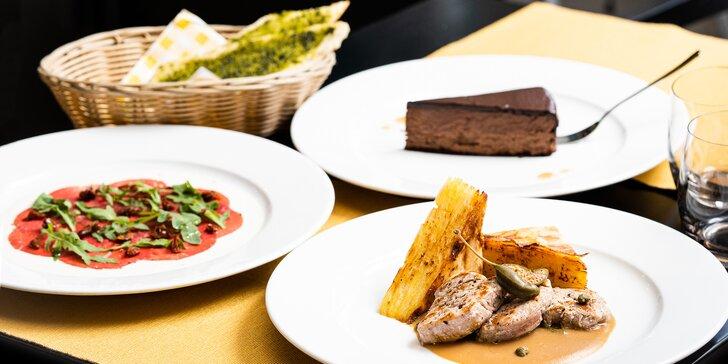 3chodové menu pro dva ve vyhlášené restauraci: hovězí carpaccio, vepřová panenka i řez z belgické čokolády