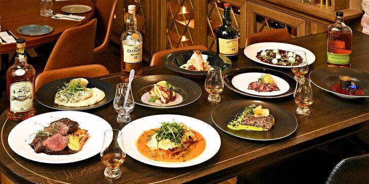 3chodové menu s degustací whiskey pro 2 osoby: losos, roštěná, hovězí špička i čokoládová pěna a plátky