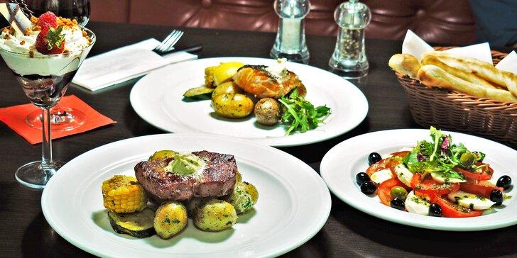 3chodové menu pro jednoho či pár: caprese jako předkrm, steak nebo losos a dezert
