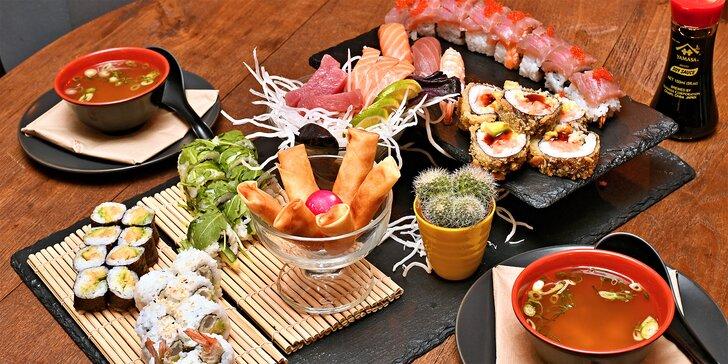 Sushi sety třeba i s wakame, taštičkami či polévkou a závitky