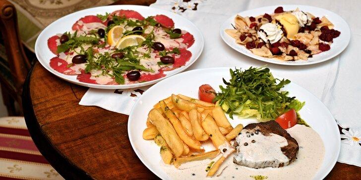 Italská kuchyně v centru Prahy: bohaté 3chodové menu pro 2 osoby s hovězí svíčkovou nebo panenkou