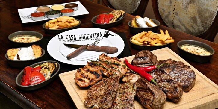 Degustační steaková žranice pro 2 nebo 6 jedlíků: až 2,8 kg masa a hromada příloh i záplava omáček