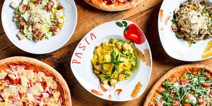 1 či 2 hlavní chody dle výběru z italské rodinné restaurace: salát, těstoviny, pizza i noky a risotta