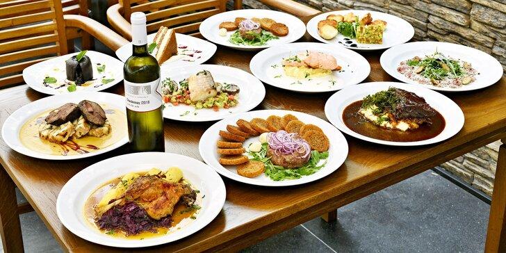 3chodové menu v moderní restauraci s celoročně otevřenou zahrádkou pro 2 osoby