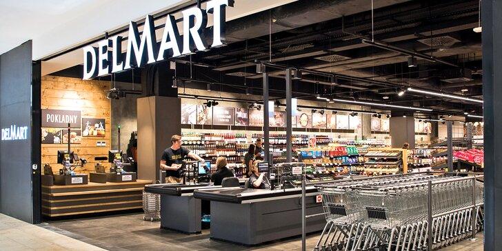 Poukazy na celý sortiment supermarketů a bister DELMART v hodnotě 200, 500 a 1000 Kč