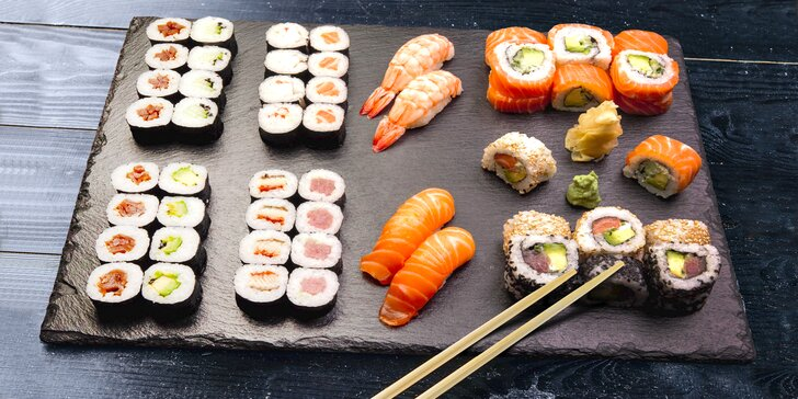 Organické sushi: degustační set 56 ks a miso polévka pro 2 osoby