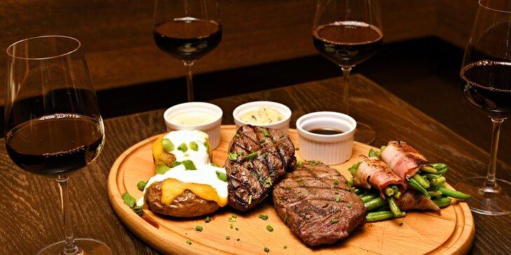 Steakové menu pro dva: filet mignon a rib-eye, přílohy, omáčky a víno