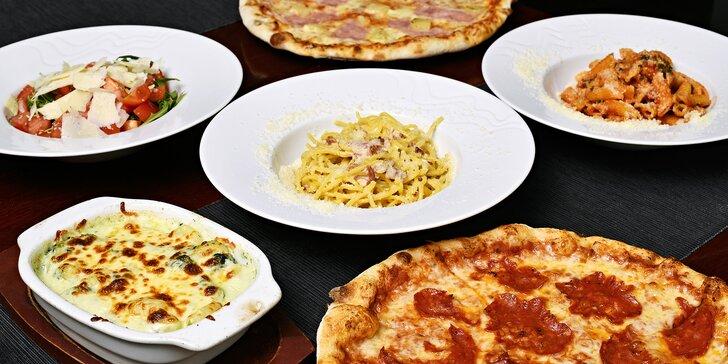 Výběr z mnoha druhů pizz, těstovin nebo salátů pro dva