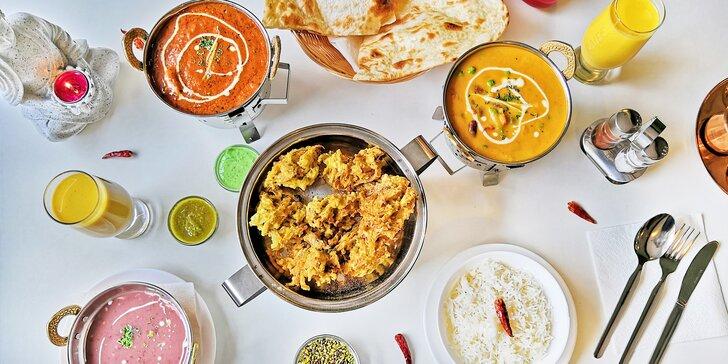 Indické kuřecí i vege pochoutky pro 2 osoby: předkrm, hlavní jídlo s přílohou i dezert