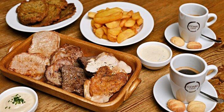 Masové hody pro dva: steaky ze 4 druhů masa, dvě přílohy i omáčky a espresso na závěr