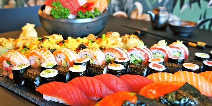 Set 26 nebo 63 ks sushi s avokádem, lososem, tuňákem i okurkou