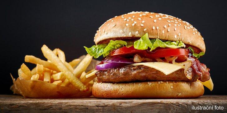 300g burger podle výběru, porce hranolků a omáčka pro 1 i 2 osoby