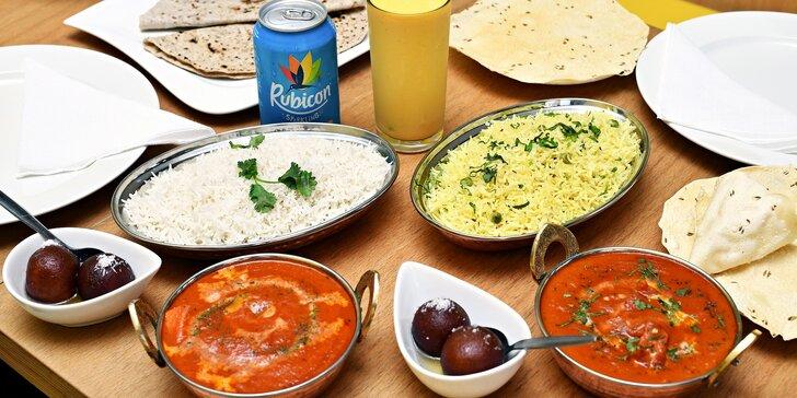 Indické menu: chicken tikka masala nebo butter chicken, tři přílohy, dezert a nápoj pro 1 i 2 osoby