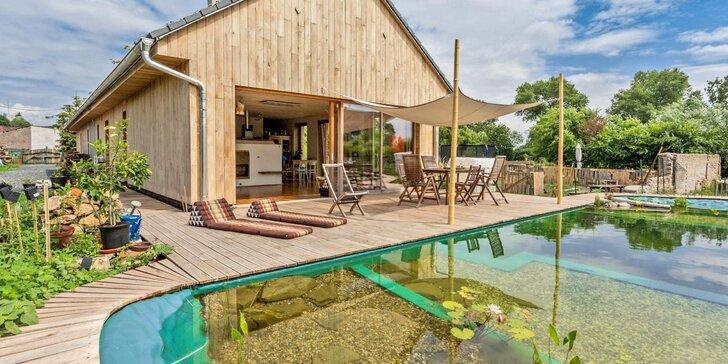 Komfort v sepětí s přírodou Polabí: domek s noclehem až pro 14 osob, terasa u jezírka a zahrada, zvířátka