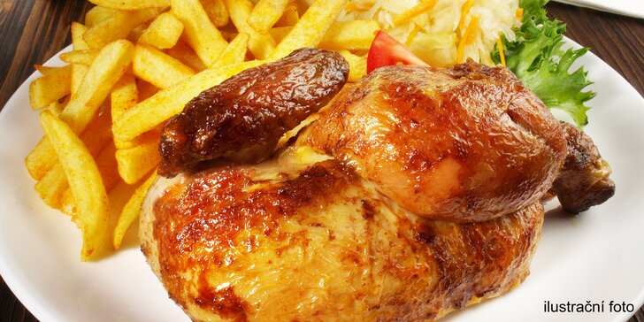 Samostatně nebo v menu: křupavé grilované kuře, hranolky, salát i nápoj