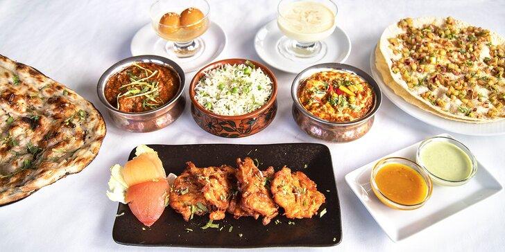 Indická hostina pro 2 osoby: hlavní chody s jehněčím a kuřecím i dezerty a předkrmy