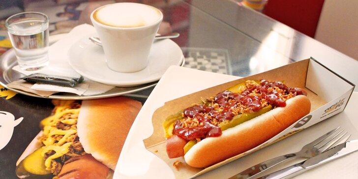 Hot dog s nápojem dle výběru pod Špilasem: hovězí a vepřový párek, zelí či okurka nebo papričky