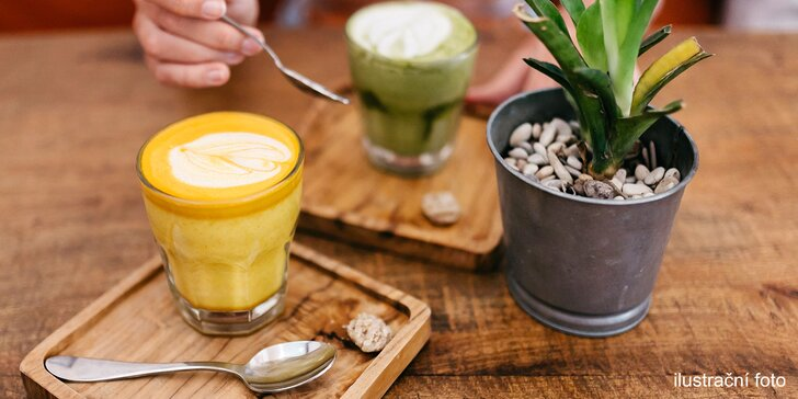 Zkuste nové chutě: netradiční latté podle výběru ve vegan restauraci pro dva