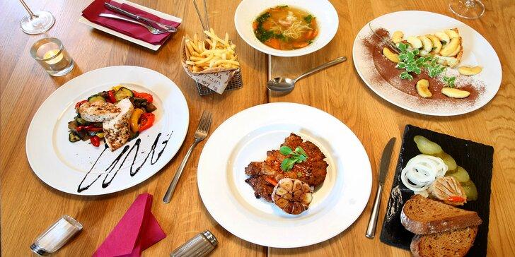 4chodové menu pro dva i s degustací piveček: škvarkovka, vývar, prso nebo krkovička, dezert a 5 točených
