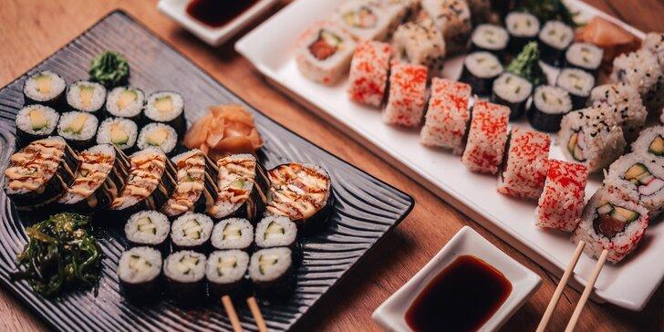 Čtvero sushi menu v centru Olomouce: losos, krevety, krab, okurka i avokádo