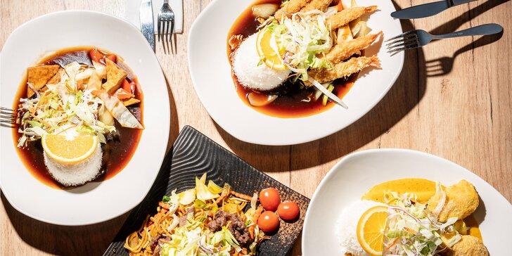 Asijské menu dle výběru: restované nudle, krevety v tempuře i kuřecí stripsy