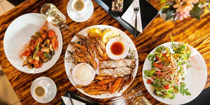 Degustace rybích specialit. Menu pro dvě osoby včetně dezertu, kávy a prosecca