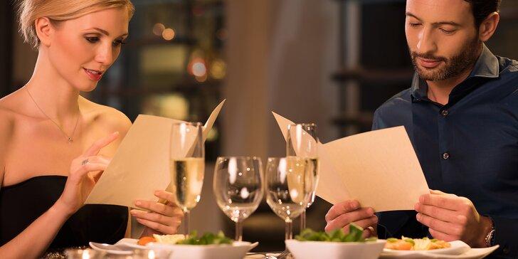 5chodová gourmet večeře ze sezónních dobrot pro 2 osoby, třeba i s wellness a sklenkou prosecca