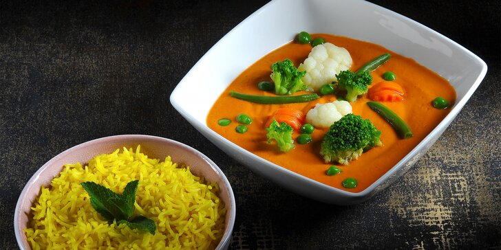 Čtyřchodové indické menu pro 1 osobu: vegetariánské nebo s masem