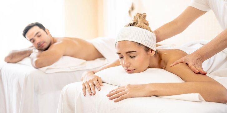 Láskyplné uvolnění ve dvou: 50minutová párová masáž, na výběr 10 druhů