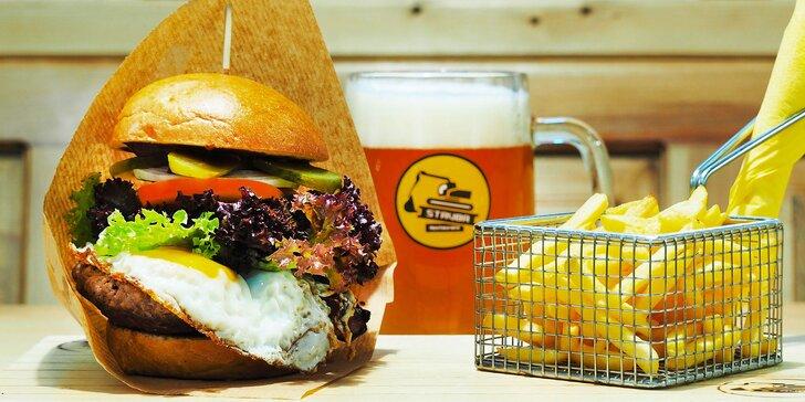 Burgerová mánie v centru Brna: 1, 2 nebo 4 burgery dle výběru ze 13 druhů a hranolky navrch