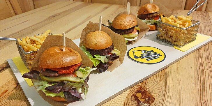 4× jiná chuť: burgerové degustační menu a hranolky, Cheese i Bacon a Jack Daniel's burger