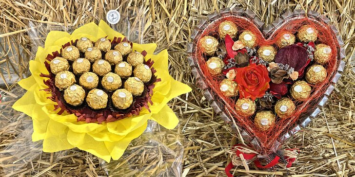 Sladké kytice, kterým neodoláte: s Geisha bonbóny, Kinder i Ferrero Rocher