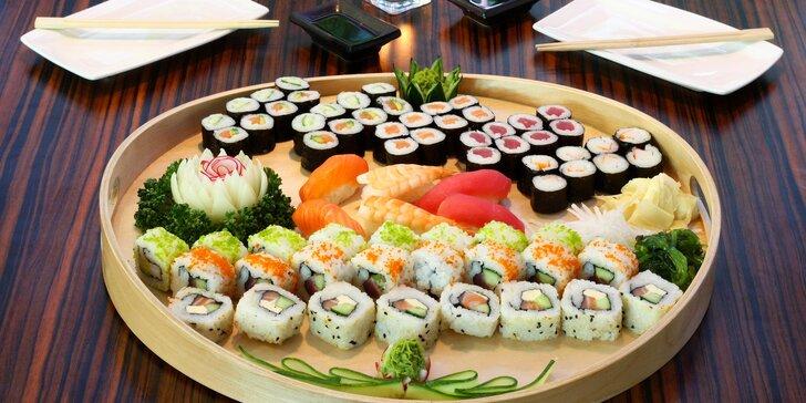 Sushi sety s 21–70 kousky: nigiri, maki i roll s krevetami, lososem či tuňákem