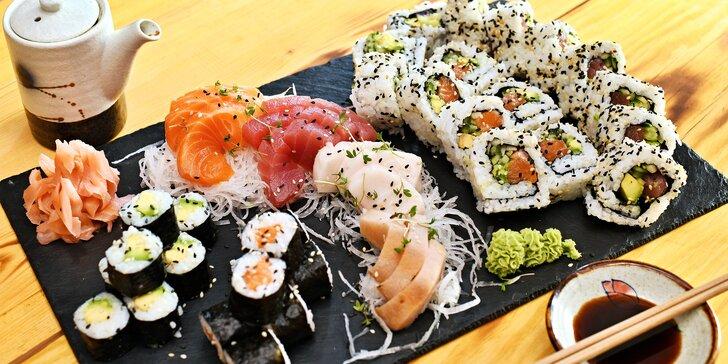 Sushi restaurace u Karlova náměstí: 24, 26, 27, 33 nebo 44 rolek, wakame i salát s tofu