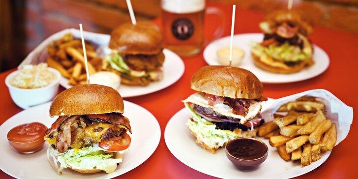 Special burger podle výběru ze 4 druhů, hranolky a nápoj pro 1 i 2 osoby