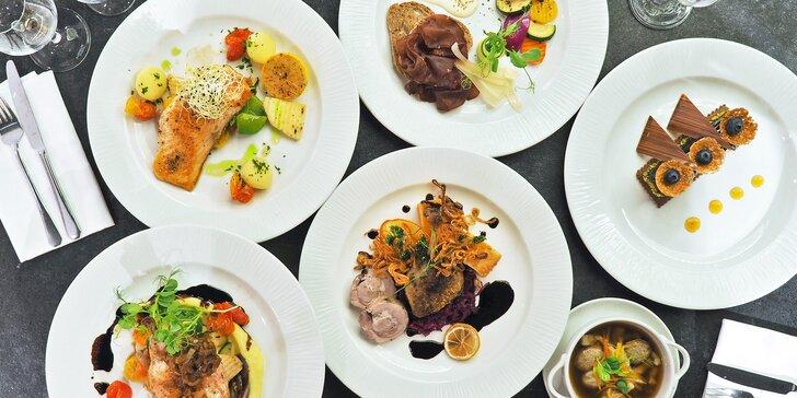 Svěží 5chodové menu s kachní roládou, kuřecím supreme nebo lososem podávané ve 4* hotelu