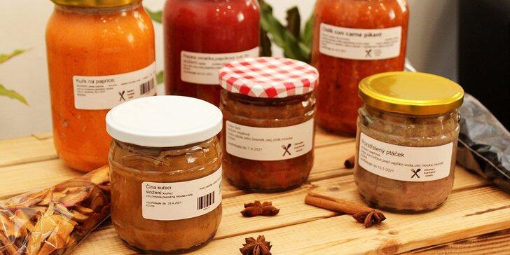 Domácí polévky či hlavní jídla zavařená ve sklenici: na výběr čočkovka, boršč, guláš, ptáček, svíčková a další